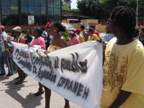 OFRANEH en lucha... 4 de julio 2009. Foto: Sandra Cuffe