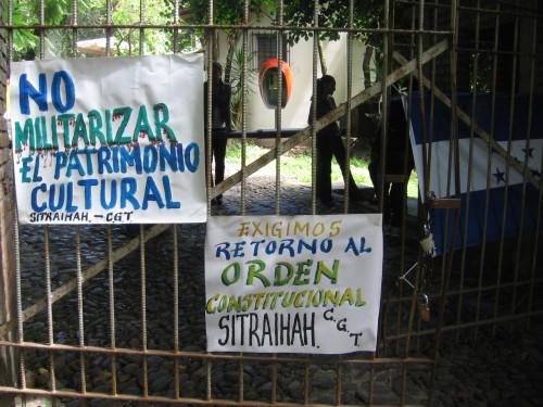toma del museo de la IHAH, Tegucigalpa, 23 julio. FOTO: Sandra Cuffe