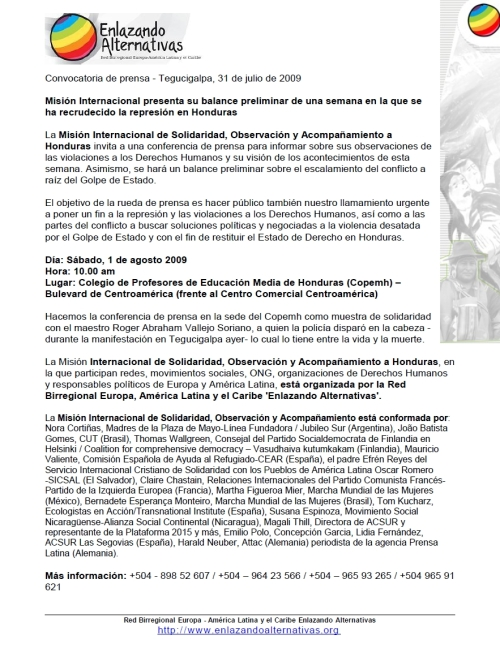 Convocatoria conferencia de prensa 10am 1 agosto Copemh