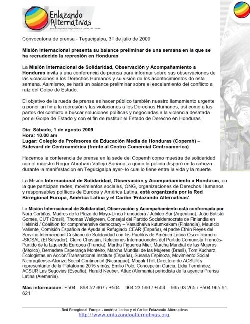 Convocatoria conferencia de prensa 10am 1 agosto Copemh
